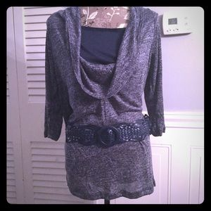 Blue Belted Waist Tunic Length Top NWT
